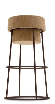 "Domitalia BOUCHRSB0F Bouchon-Sgb 25"" Counter Height Stool with Cone Shaped Lacquered Steel Frame and Cork Seat in"