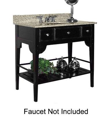 "Kaco Dover Collection 340-3600-B 36"" Single Sink Vanity with Bottom Shelf, Faux Drawer Front and Distressed Black Sherwin Williams Finish with Granite Top"