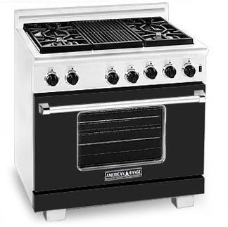 American Range ARR364GRBK Heritage Classic Series Natural Gas Freestanding Range with Sealed Burner Cooktop, 5.6 cu. ft. Primary Oven Capacity, in Black
