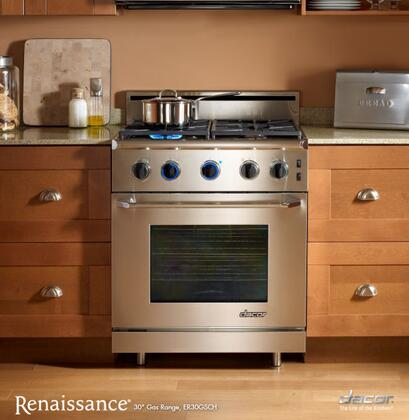 "Dacor ER30GSCHLPH 30"" Renaissance Series Gas Freestanding Range with Sealed Burner Cooktop, 4.04 cu. ft. Primary Oven Capacity, in Stainless Steel"