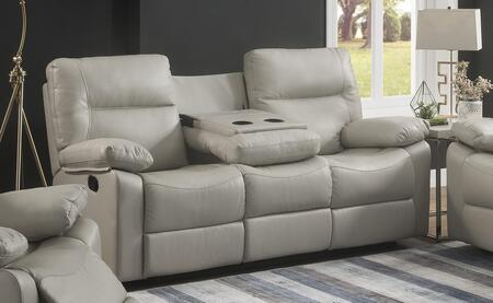 Myco Furniture Kenzie Faux Leather Reclining Sofa 2050siv Ivory