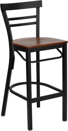 "Flash Furniture HERCULES Series XU-DG6R9BLAD-BAR-XXW-GG 29"" Heavy Duty Ladder Back Metal Restaurant Bar Stool with Wood Seat, Commercial Design, Foot Rest Rung, and Plastic Floor Glides"