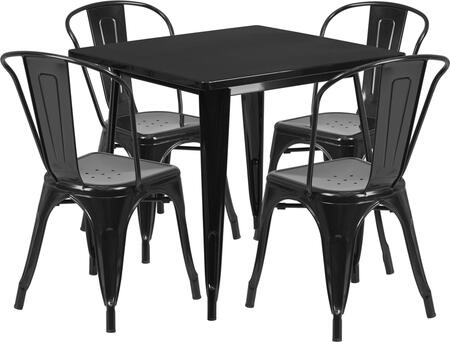 "Flash Furniture 31"" Indoor-Outdoor Table Set with Square Cafe Table, 4 Stackable Arm Chairs, Powder Coat Finish, Protective Rubber Floor Glides and Metal Construction in"