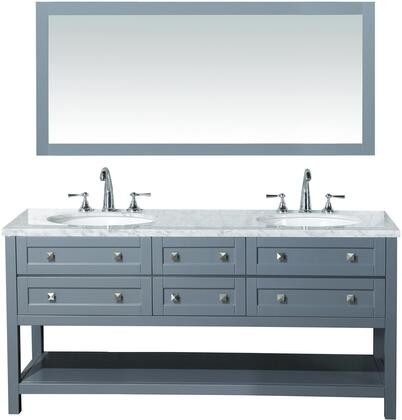 "Stufurhome Marla HD-6868X-72-CR 72"" Double Sink Bathroom Vanity with 68"" Mirror, 6 Functional Soft-Closing Drawers, Bottom Shelf and Carrara White Marble Top in"