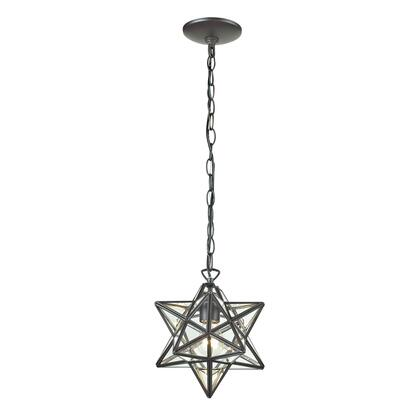 Sterling Star Collection 145-00 Pendant Lamp with 1 Light Capacity, Clear Glass Panels, UL Listed, Medium Bulb Type and Metal Construction in Oiled Bronze Finish