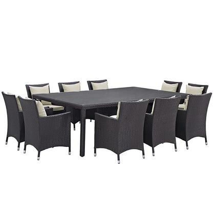 Modway Convene Collection EEI-2240- 11-Piece Outdoor Patio Dining Set with Dining Table and 10 Armchairs in