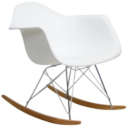 """Modway EEI-147 16"""" Rocker Rocking Chair with Modern Design, Plastic Seat, Chrome Plated Steel Base, and Solid Wood Rocker Bottoms"""