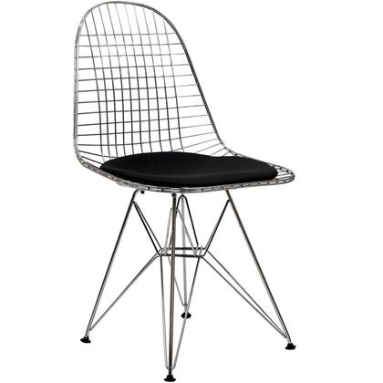 "Modway EEI-200 Tower 16"" Dining Chair with Modern Design, Solid Chrome Base, Vinyl Seat Pad, and For Indoor/Outdoor Use"