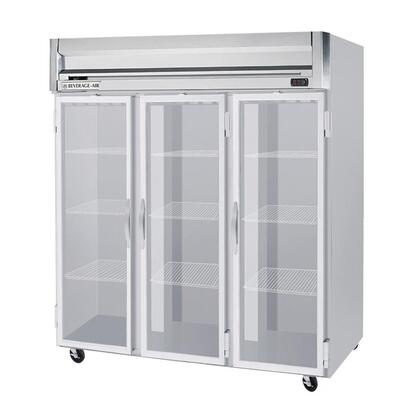 "Beverage-Air HF3-5 78"" Horizon Series Three Section [Solid Door] Reach-In Freezer, 74 cu.ft. capacity, Stainless Steel Front, Gray Painted Sides, Aluminum Interior"