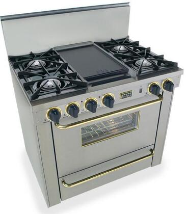 """FiveStar TPN3107BSW 36""""  Stainless Steel with Brass Gas Freestanding Range with Open Burner Cooktop, 3.69 cu. ft. Primary Oven Capacity, Broiler"""