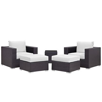 Modway Convene Collection 5 PC Outdoor Patio Sectional Set with All-Weather Fabric Cushions, Powder Coated Aluminum Frame and Synthetic Rattan Weave Material in Espresso Color