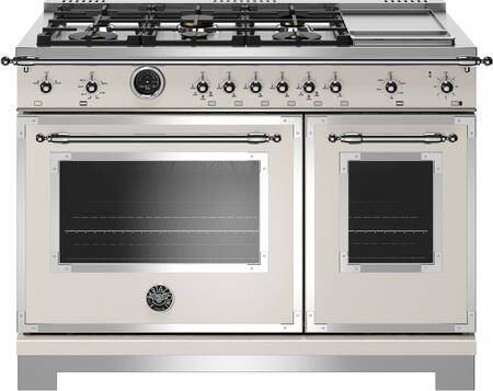 Bertazzoni Heritage HERT486GDFSAVT 48 inch Dual Fuel Range, 6 Brass Burners and Griddle