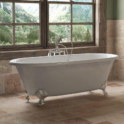"""Cambridge DE67398684PKG Cast Iron Double Ended Clawfoot Tub 67"""" x 30"""" with no Faucet Drillings and Complete Free Standing English Telephone Style Faucet with Hand Held Shower Assembly Plumbing Package"""