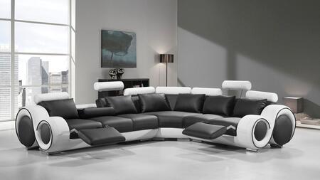 VIG Furniture VGEV4087BLKWHT Divani Casa Series Stationary Bonded Leather Sofa
