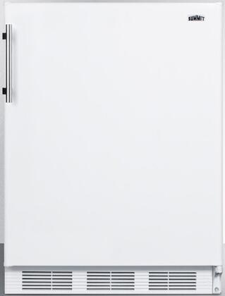 "Summit FFF61 24"" Freestanding Counter Height Refrigerator with 5.5 cu. ft. Capacity, Automatic Defrost, Adjustable Glass Shelves, Wine Shelf, Crisper and"