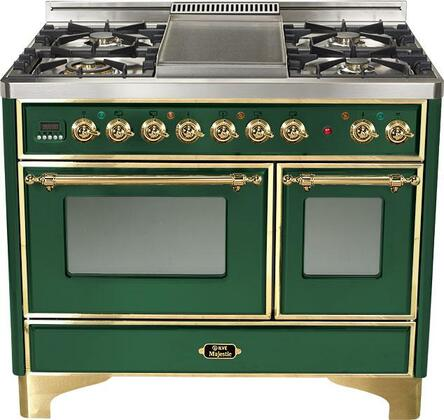 Ilve UMD1006MPVS Majestic Series Dual Fuel Freestanding Range with Sealed Burner Cooktop, 2.44 cu. ft. Primary Oven Capacity, Warming in Green