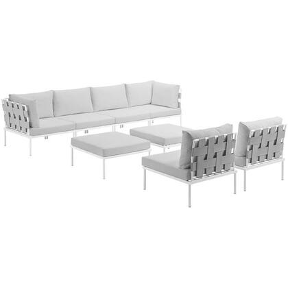 Modway Harmony Collection EEI-2624-WHI- 8-Piece Outdoor Patio Aluminum Sectional Sofa Set with 4 Armless Chairs, 2 Corner Sofas and 2 Ottomans in