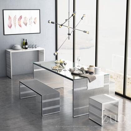 Zuo 10008 Novel Bench in Brushed Stainless Steel