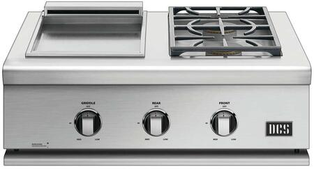 """DCS BFGC-30BGD- 30"""" Liberty Built-in or On Cart Gas Dual Side Burner with Griddle, Designer Metal Control Knobs and Direct Burner Ignition in Brushed Stainless Steel:"""