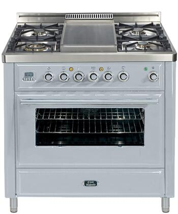 "Ilve UMT90FDVGG 36"" Majestic Techno Series Freestanding Gas Range with 4 Sealed Burners, Griddle, Digital Clock and Timer, 3.5 cu. ft. Oven Capacity, Infrared Grill-Baking or Broiler, and Backguard"