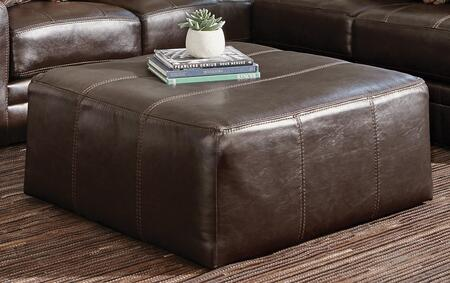 "Jackson Furniture Denali Collection 4378-12- 40"" Cocktail Ottoman with Top Grain Italian Leather and Decorative Luggage Stitching in"