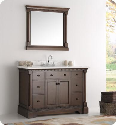 """Fresca Kingston Collection FVN2248 48"""" Traditional Bathroom Vanity with Mirror, Carrera Marble Countertop, 7 Soft Close Dovetail Drawers and Ceramic Undermount Sink in"""