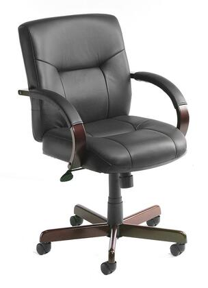 "Boss B89X 37"" Executive Leather Mid Back Chair with Mahogany Finished Wood, Hardwood Arms, Upright Locking Position, and Gas Lift Seat Height Adjustment in Black Italian Leather"