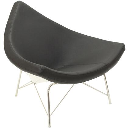 Modway EEI590BLK Leather Lounge with Metal Frame in Black