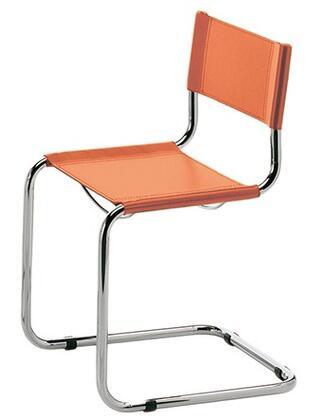 ITALMODERN L3108ORG Sabrina Series Modern Leather Metal Frame Dining Room Chair
