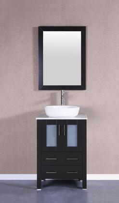 Bosconi Bosconi AB124BWLCM Single Vanity with Carrara Marble Top, White Oval Ceramic Vessel Sink , Faucet, and Vertically Mounted Vanity Mirror
