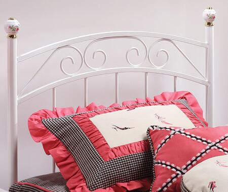 Hillsdale Furniture 186H Emily Open-Frame Headboard with Rails Included, Scrollwork and Metal Construction in White Color