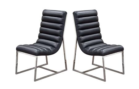 """Diamond Sofa Bardot Collection BARDOTDCX2 Set of (2) 38"""" Dining Side Chairs with Stainless Steel Frame, Channel Tufted Design and Bonded Leather Upholstery in"""