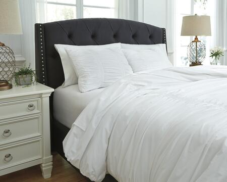 Signature Design by Ashley Tufton Q753003 3 PC Size Duvet Cover Set includes 1 Duvet Cover and 2 Standard Shams with Solid Ruched Design, 200 Thread Count and Cotton Material in White Color