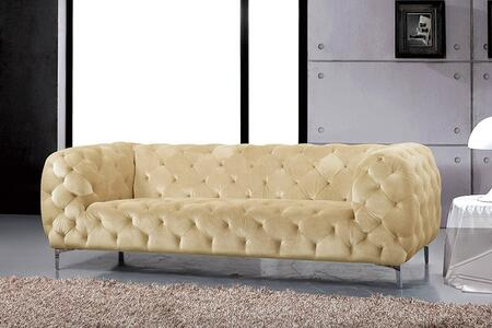 "Meridian Mercer 646-S 88"" Sofa with Top Quality Velvet Upholstery, Tufting Detailing and Tuxedo Arms in"
