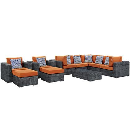Modway Summon Collection EEI-2396-GRY- 10-Piece Outdoor Patio Sunbrella Sectional Set with Coffee Table, 3 Armless Chairs, 2 Armchairs, 2 Corner Sections and 2 Ottomans in