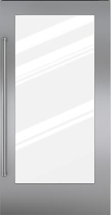 Sub-Zero 7008X (Single Flush Inset) X Hinge Glass Door Panel with Professional Handle, in Stainless Steel