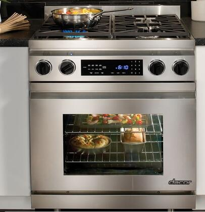 "Dacor Distinctive DR30DIH 30"" Slide-In Dual Fuel Range with 3.9 cu. ft. Convection Oven, 4 Sealed/Simmer Burners, Epicure Style Handle: Stainless Steel"