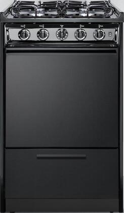 """Summit TTM1107CSxRT 20"""" Gas Range with 4 Sealed Burners, 2.46 cu. ft. Oven Capacity, Porcelain Construction, Electronic Ignition and 2 Oven Racks, in"""