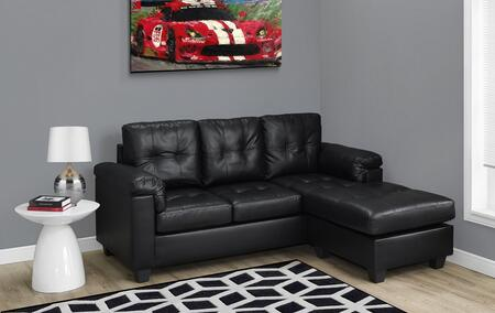 "Monarch I 8390XX 80"" Sofa Lounger with Tufted Cushions, Stitch Detailing and Bonded Leather"