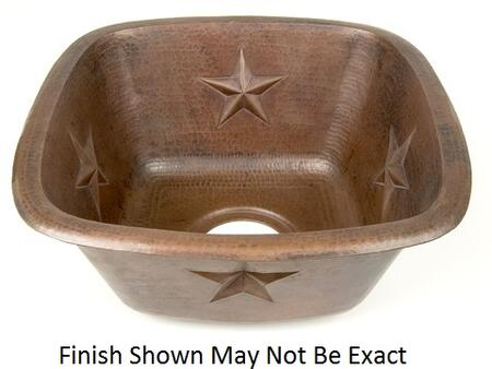 D'Vontz BP2008L35 Square Texas Star Embossed Copper Prep Sink With 77% Recycled Copper, 99% Pure Copper & In