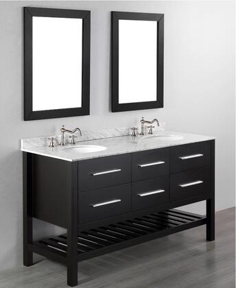 "Bosconi SB2505X 60"" Double Vanity with White Carrara Marble Top"