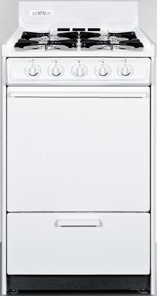 "Summit WNM110P 20"" Gas Freestanding Range with Open Burner Cooktop, 2.5 cu. ft. Primary Oven Capacity, Broiler in White"