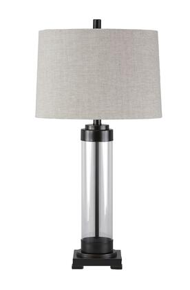 "Signature Design by Ashley Talar L4301XT 31"" Glass Table Lamp with Metal Base, 3-Way Switch and Contemporary Style in"