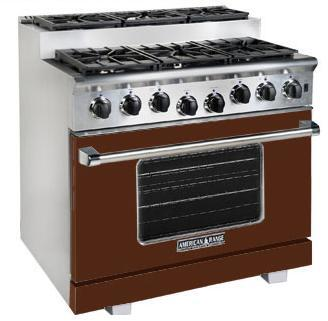 American Range ARR366SHB Titan Series Gas Freestanding Range with Sealed Burner Cooktop, 5.6 cu. ft. Primary Oven Capacity, in Brown