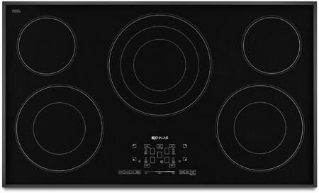 "Jenn-Air JEC4536BT 36"" Electric Cooktop with 5 Radiant Elements, Glass-Touch Electronic Controls, Elegant Beveled Glass Edge, Black Floating Glass Design, in"