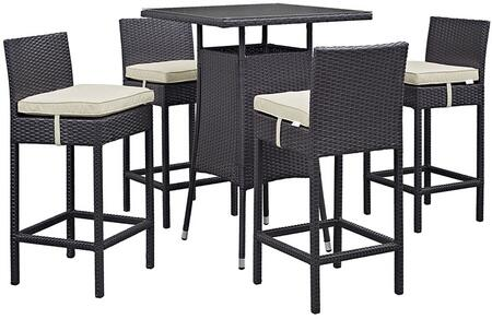 Modway Convene Collection 5 PC Outdoor Patio Pub Set with 4 Bar Stools, Square Glass Top Table, Powder Coated Aluminum Frame and Synthetic Rattan Weave Materials in Espresso Color