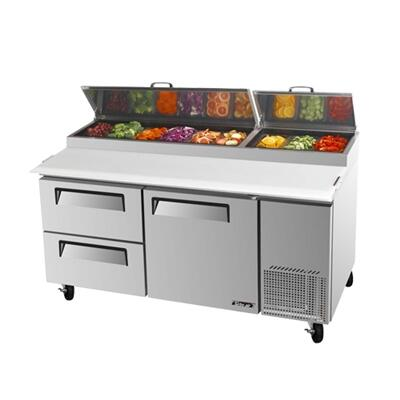 Turbo Air TP Pizza Prep Table with 1 Door, Drawers, Extra Deep cutting Board, Stainless Shelving, Excellent Cooling System and Stainless Steel Cabinet Construction