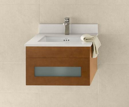 """Ronbow 010123-1- Rebecca 23"""" Wall Mount Vanity Cabinet with Frosted Glass Drawer Front:"""