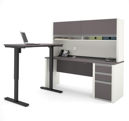 Bestar Furniture 93886 Connexion L-Desk with Hutch including Electric Height Adjustable Table