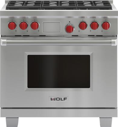 Wolf Df366lp 36 Inch Stainless Steel Dual Fuel Convection Freestanding Range